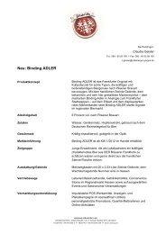 Neu: Binding ADLER - Radeberger Gruppe KG