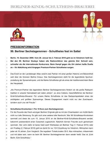 PRESSEINFORMATION 99. Berliner Sechstagerennen - Schultheiss ...