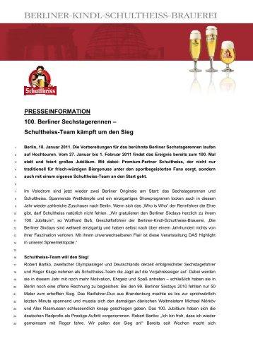 PRESSEINFORMATION 100. Berliner Sechstagerennen ...