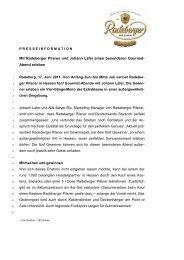 Mit Radeberger Pilsner und Johann Lafer einen besonderen Gourmet