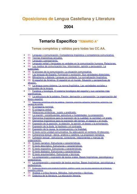 Oposiciones De Lengua Castellana Y Literatura 2004