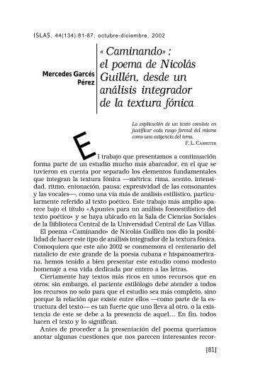 Caminando»: el poema de Nicolás Guillén, desde un