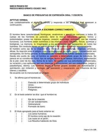 BANCO DE PREGUNTAS DE EXPRESIÓN ORAL Y ESCRITA ...