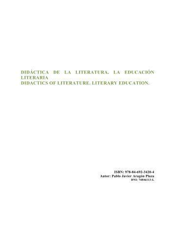 didáctica de la literatura. la educación literaria didactics ... - Eduinnova