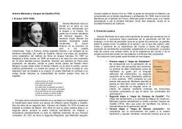 Antonio Machado y Campos de Castilla (1912) I. El autor (1875 ...