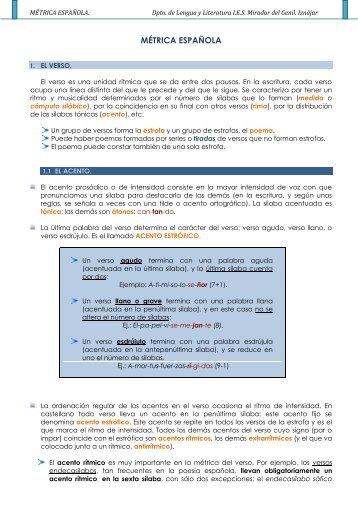 MÉTRICA ESPAÑOLA. Dpto. de Lengua y Literatura IES Mirador del ...