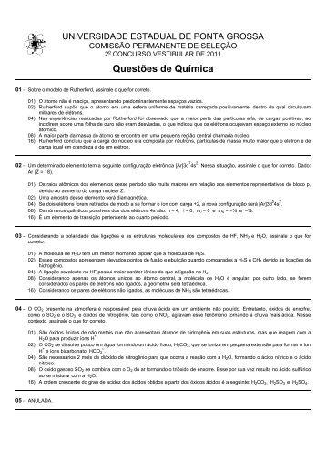 Questões de Química - Universidade Estadual de Ponta Grossa