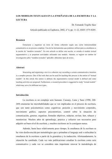Los modelos textuales en la enseñanza de la ... - Fernando Trujillo