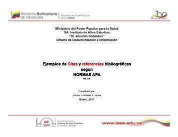 Ejemplos de Citas y referencias referencias bibliográficas según ...