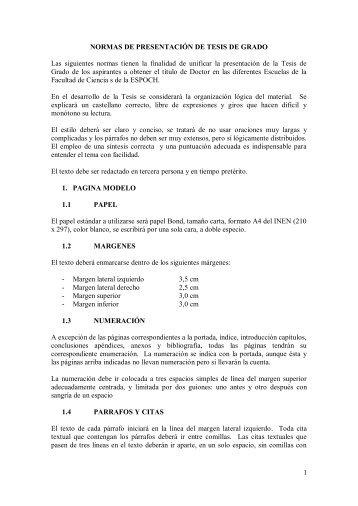 NORMAS DE PRESENTACIÓN DE TESIS DE GRADO - Espoch