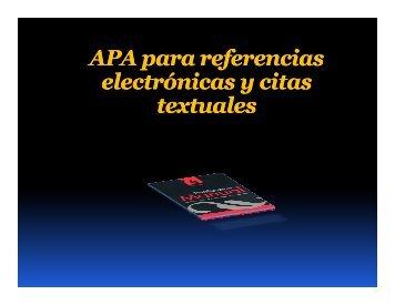 APA para referencias electrónicas y citas textuales - Didactica