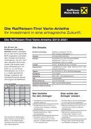 Die Raiffeisen-Tirol Vario-Anleihe Ihr Investment in eine ertragreiche ...