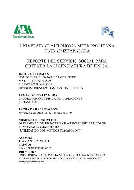 Universidad Autonoma Metropolitana Unidad Iztapalapa Reporte