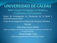 UNIVERSIDAD DE CALDAS Taller Integral Pedagógico en Bioética ...