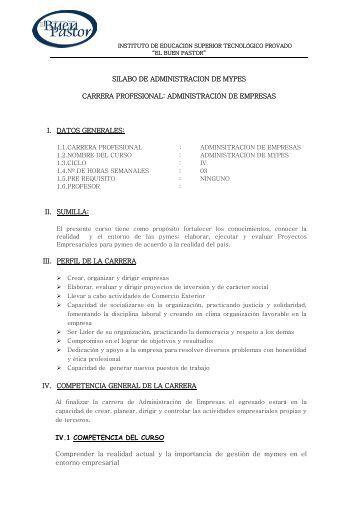 SILABO DE ADMINISTRACION DE MYPES ... - IST Buen Pastor