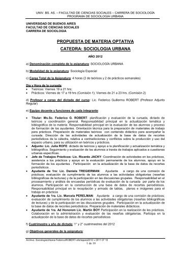 Sociología urbana - Robert - carrera de sociología - UBA ...