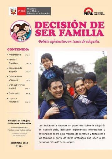 Boletín informativo en temas de adopción. - Ministerio de la Mujer y ...