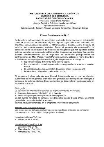 Historia del Conocimiento Sociológico II - carrera de sociología - UBA