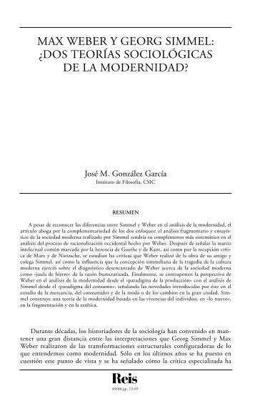Dos teorías sociológicas de la modernidad?. - Reis - Revista ...