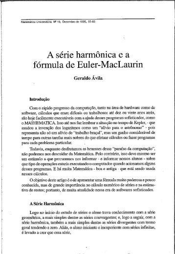 A série harmônica e a fórmula de Euler-MacLaurin - Revista ...