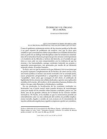 El DERECHO Y EL ÓRGANO DE LA MORAL - Ludus Vitalis