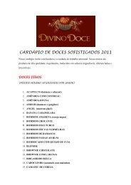 CARDÁPIO DE DOCES SOFISTICADOS 2011 - Divino Doce