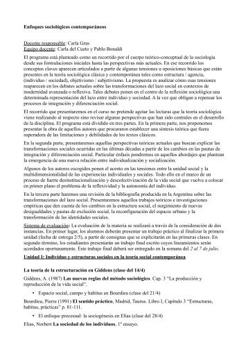 Enfoques teóricos en la sociología contemporánea - IDES