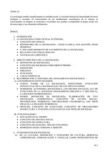 16.1 TEMA 16 La sociología estudia científicamente la realidad ...