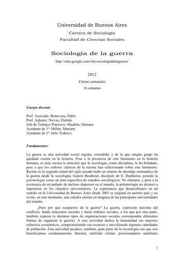 Sociología de la guerra - Bonavena - carrera de sociología - UBA ...