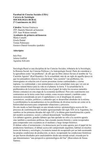 Sociología rural - Giarracca - carrera de sociología - UBA