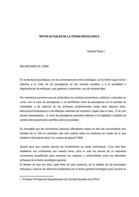 Retos Actuales De La Teoria Sociologica Orlando Plaza1