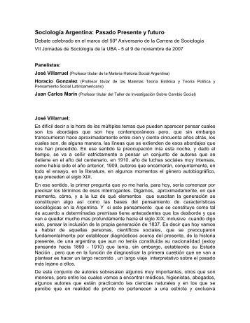 Sociología Argentina: Pasado Presente y futuro - carrera de ...