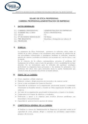 SILABO DE ETICA PROFESIONAL CARRERA ... - IST Buen Pastor
