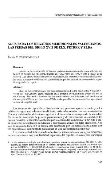 agua para los regadíos meridionales valencianos. las presas - RUA ...