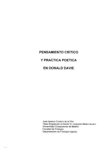 pensamiento critico y practica poetica en donald davie - Universidad ...
