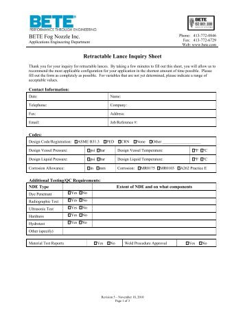 BETE Retractable Lance Inquiry Sheet - BETE Fog Nozzle, Inc.