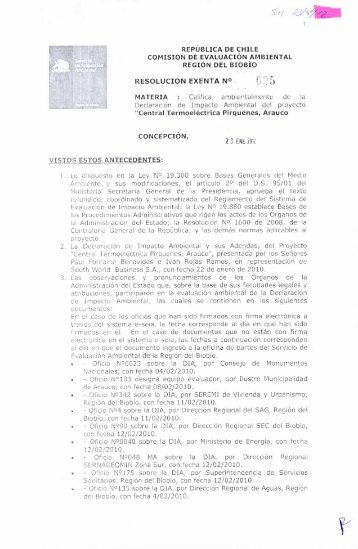RESOLUCIÓN EXENTA N° P: 5 - SEA - Servicio de evaluación ...