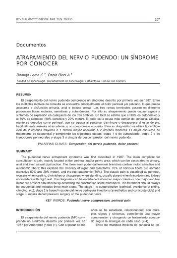 atrapamiento del nervio pudendo: un síndrome por conocer - SciELO