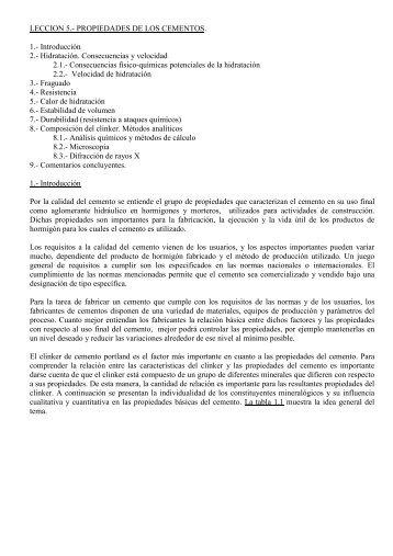 LECCION 5.- PROPIEDADES DE LOS CEMENTOS. 1.- Introducción ...