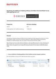 Einrichtung des Raiffeisen E-Banking Software-Zertifikat (Client ...