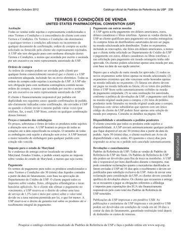 Termos e condições de vendas - US Pharmacopeial Convention