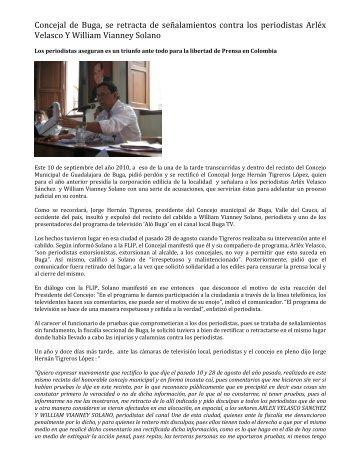 Jorge Hernán Tigreros López se retracta ante el - Fundación para la ...