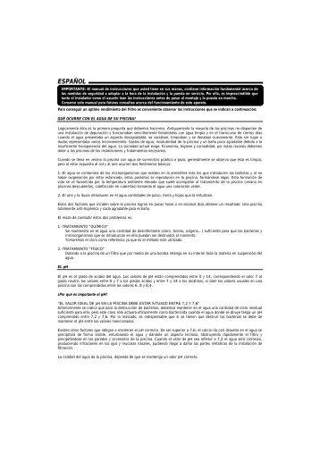 Filtro de arena astralpool atlas manual de instalacion y for Manual mantenimiento piscinas
