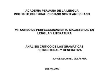 Análisis crítico de las gramáticas estructural y generativa - Instituto ...