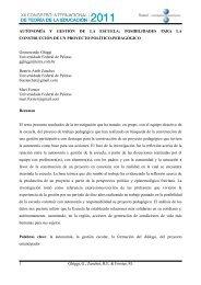 AUTONOMÍA Y GESTIÓN DE LA ESCUELA: POSIBILIDADES PARA ...