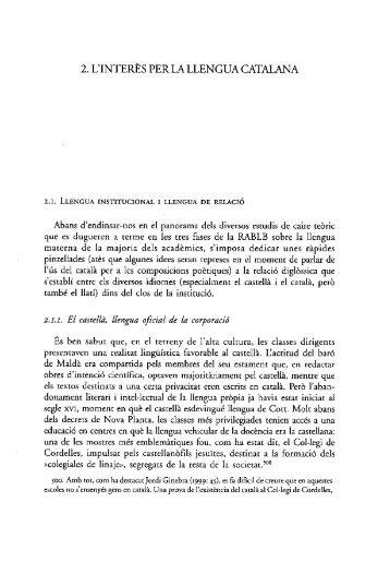 2. l'inter~s perla llengua catalana - Reial Acadèmia de Bones Lletres