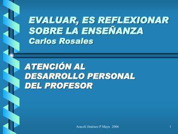 EVALUAR, ES REFLEXIONAR SOBRE LA ENSEÑANZA Carlos ...