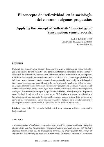 El concepto de 'reflexividad' en la sociología del consumo: algunas ...