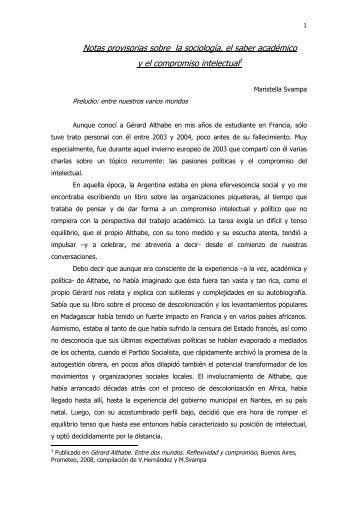 Notas provisorias sobre la sociología, el saber académico y el ...