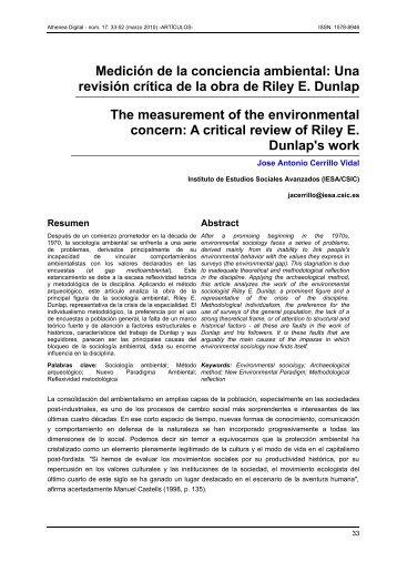 Medición de la conciencia ambiental: Una revisión crítica ... - Dialnet